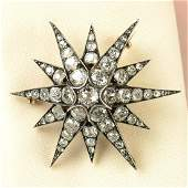 A late Victorian silver and gold oldcut diamond star