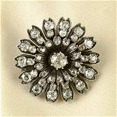 A late Victorian silver and gold old-cut diamond floral