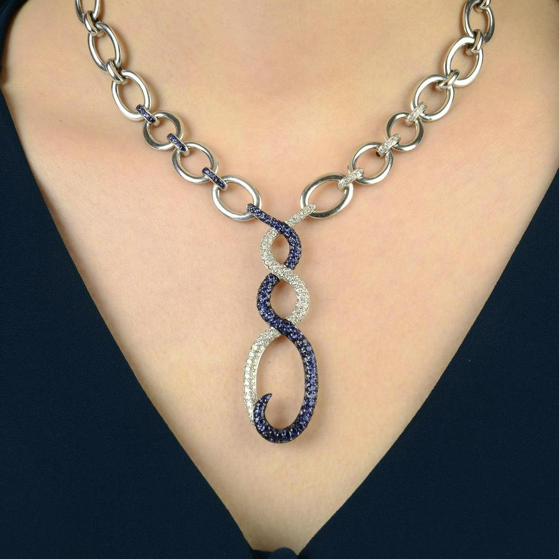 An 18ct gold sapphire and diamond necklace, by Rodney