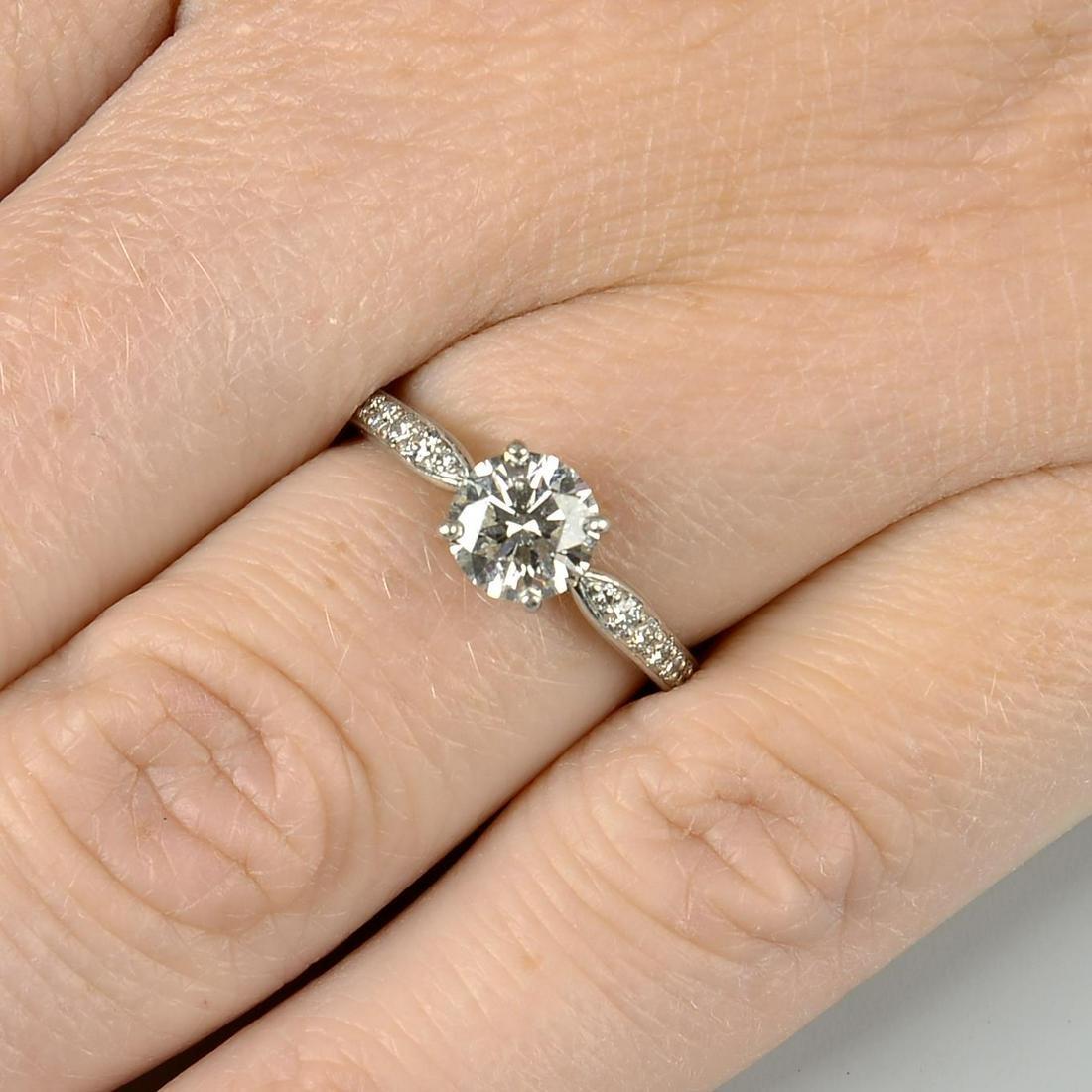 A platinum brilliant-cut diamond single-stone ring,