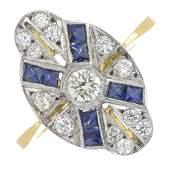 A brilliantcut diamond dress ring with sapphire