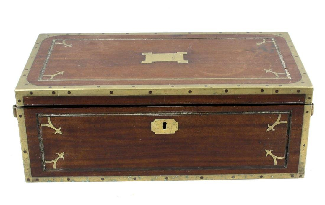 A 19th century mahogany brass bound military style