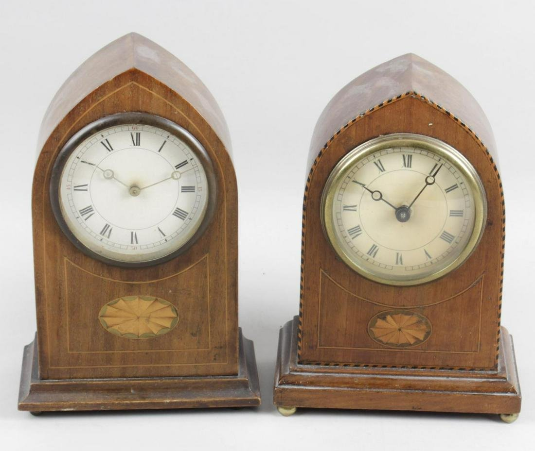 An Edwardian mahogany cased lancet style mantel clock,