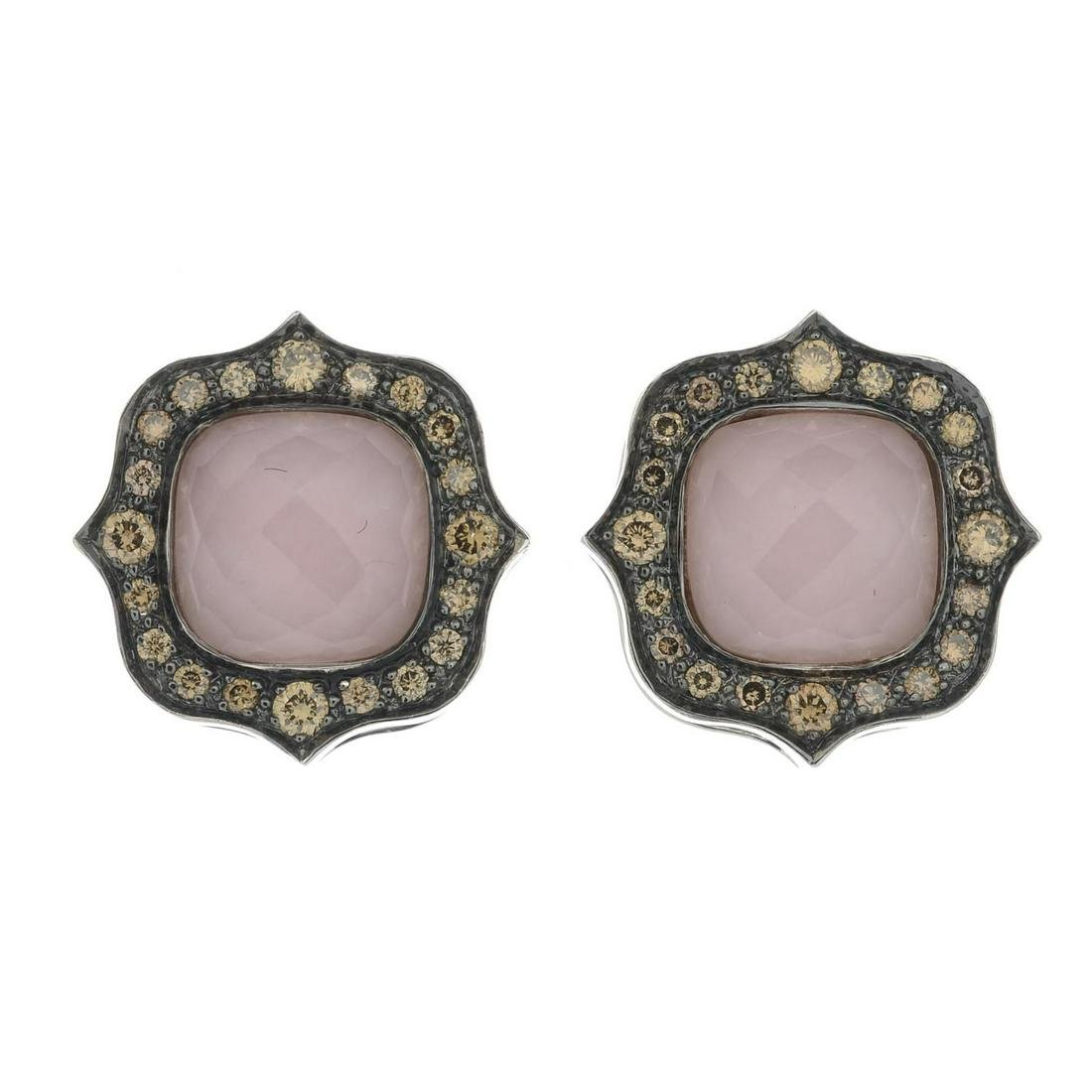 A pair of 18ct gold 'brown' diamond, rock crystal and