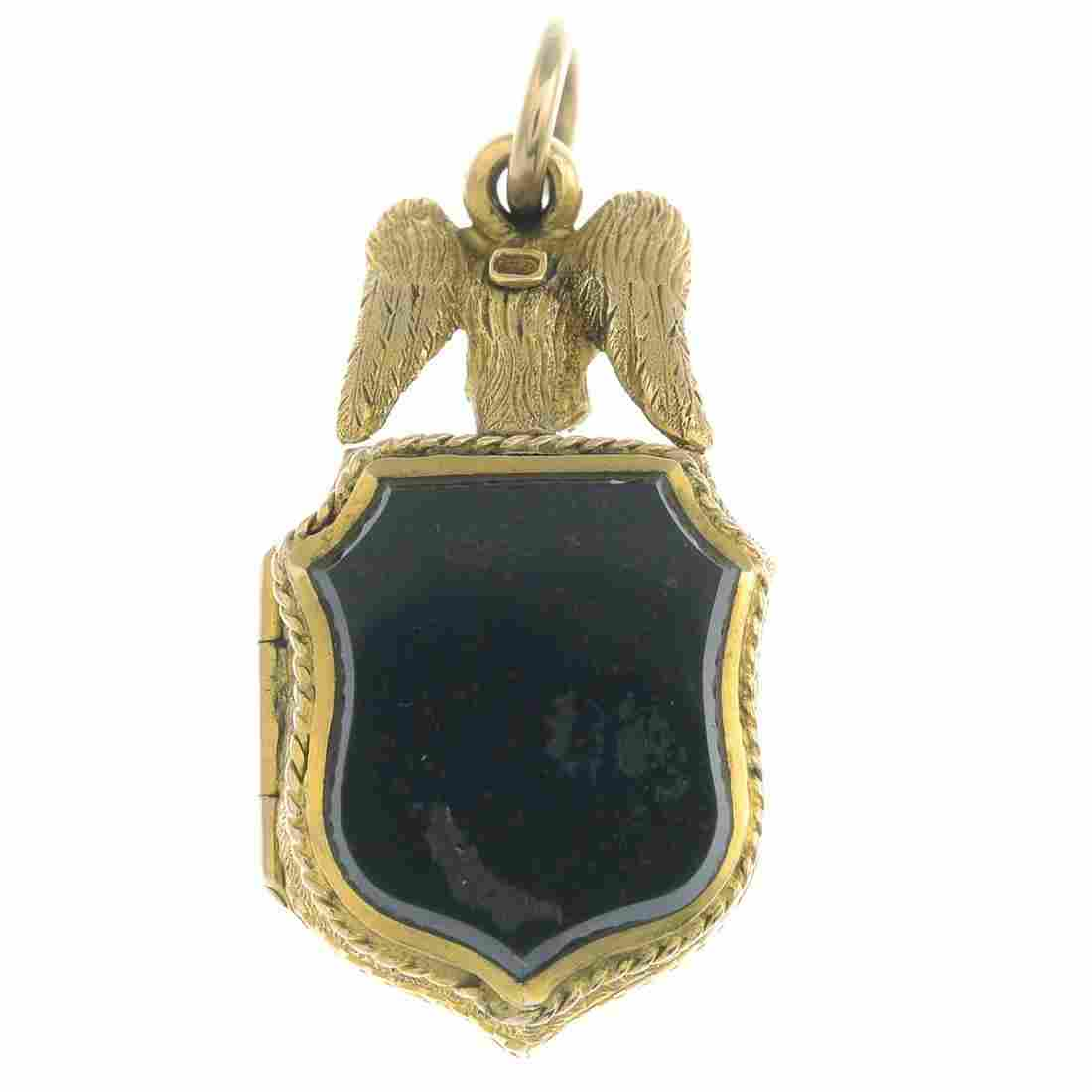 A late Victorian 18ct gold shield-shape bloodstone and