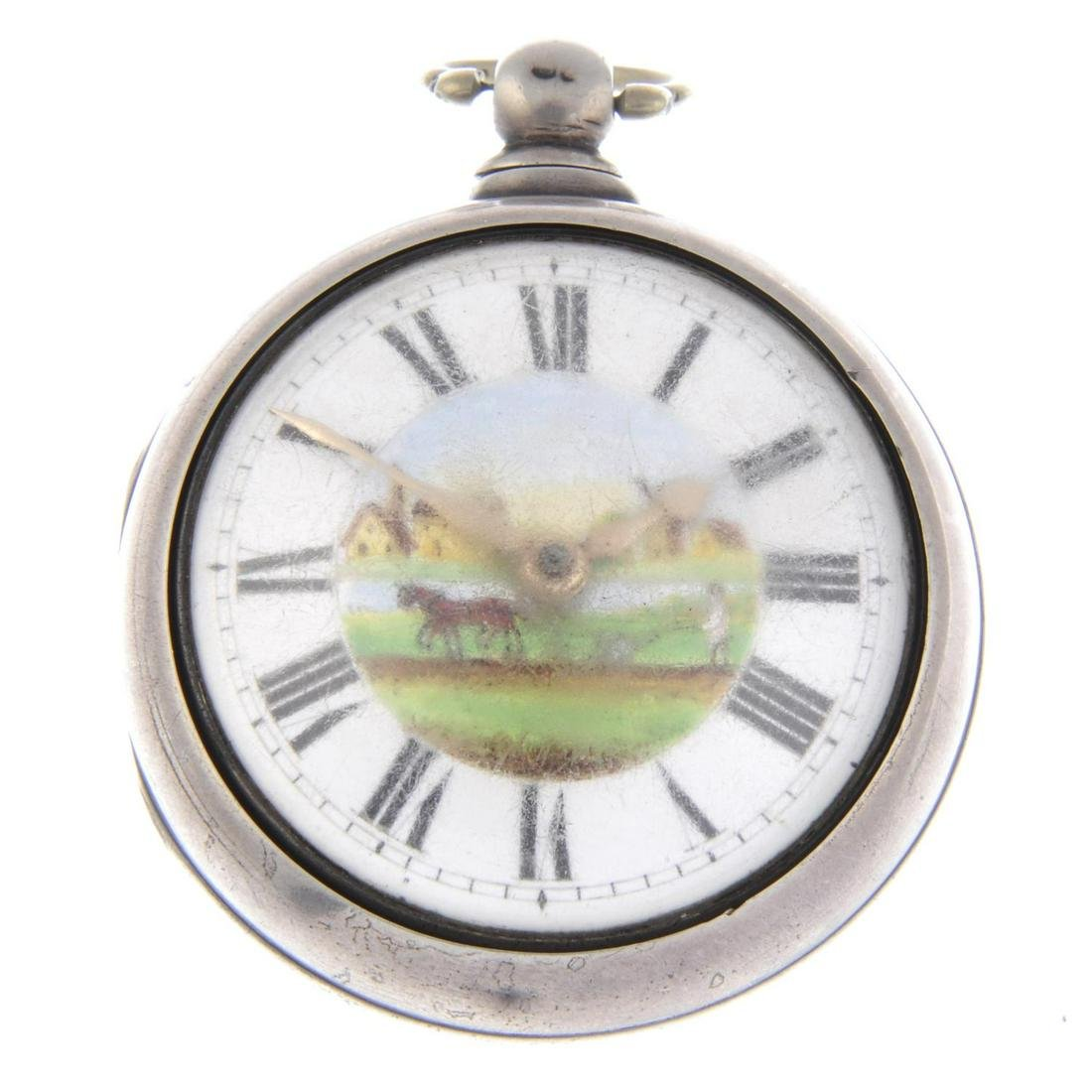 A pair case pocket watch by W. Gadsby. Silver cases,