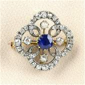 A late Victorian silver and gold sapphire and oldcut