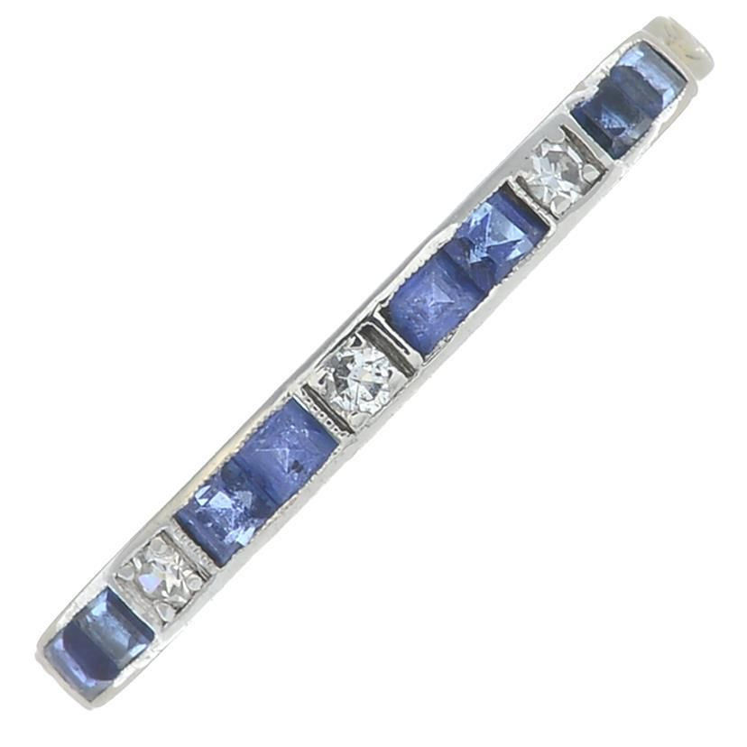 A mid 20th century 18ct gold, platinum sapphire and