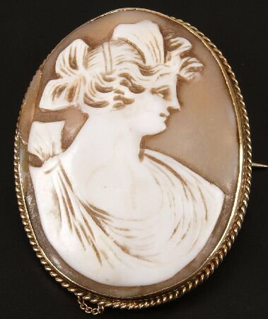 3: 9ct gold oval shell cameo brooch depicting a classic