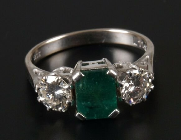 4: 18ct white gold mounted rectangular emerald and diam