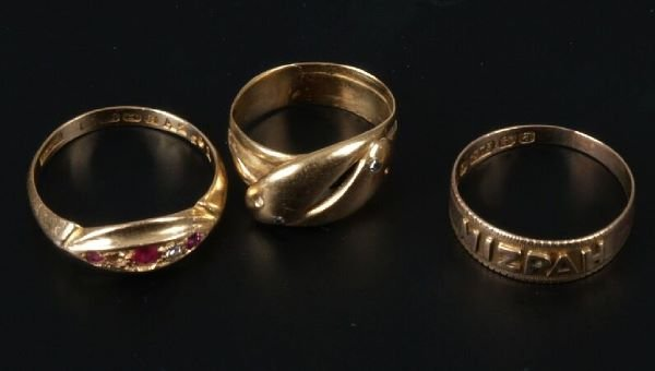 17: Three rings to include and 18ct gold ruby and diamo