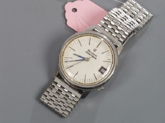 1010: BULOVA - gents steel Accutron with round case and