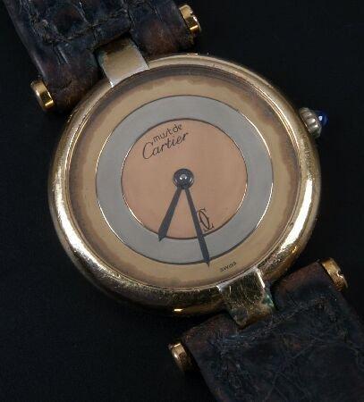 1017: MUST DE CARTIER -  quartz gold plated ladies wris