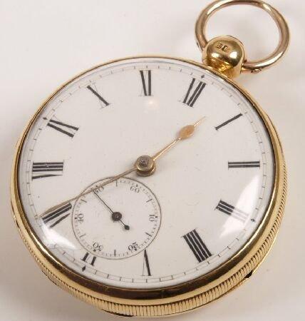 1339: Georgian 18ct gold open face back wind pocket wat