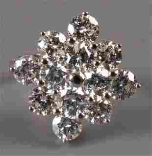 18ct white gold twelve stone diamond cluster ring o