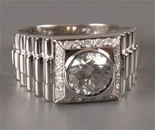 18ct white gold Rolex style single stone diamond ri