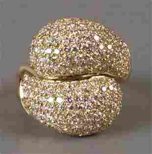 18ct yellow gold pave set all diamond bombe crossov