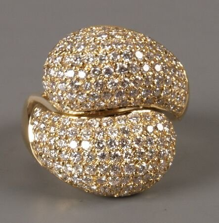 15: 18ct yellow gold pave set all diamond bombe crossov