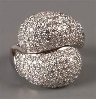18ct white gold pave set all diamond bombe crossove