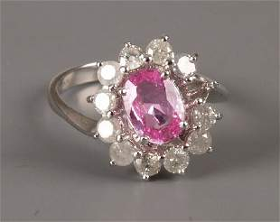 Two 18ct white gold oval pink sapphire and diamond