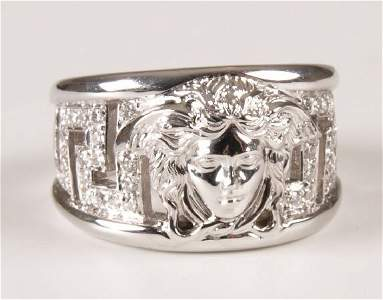 209: VERSACE - 18ct white gold Medusa dress ring with d