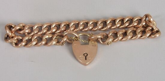 1016: 9ct rose gold hollow part chased curb l