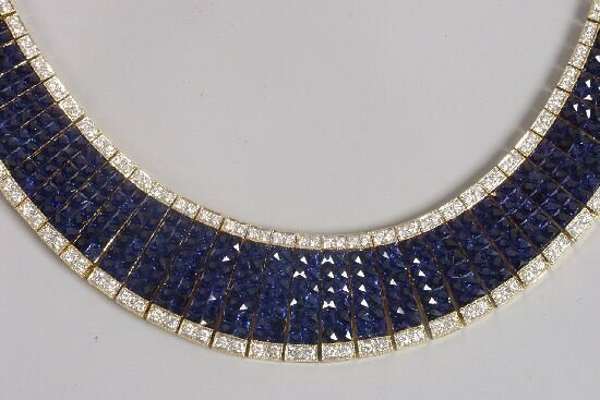 1269: French cut fine quality sapphire and di