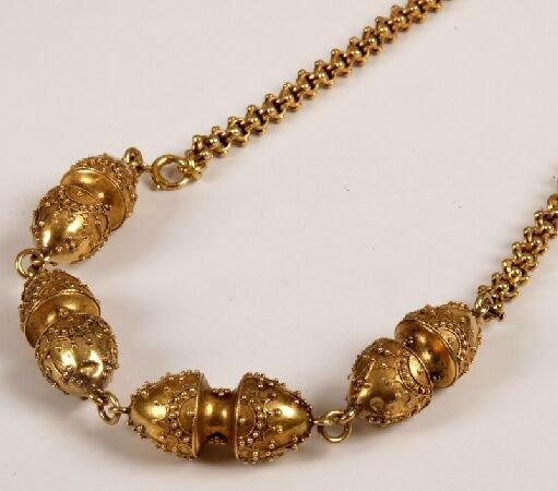 6: Fancy belcher link necklet with four central hollow