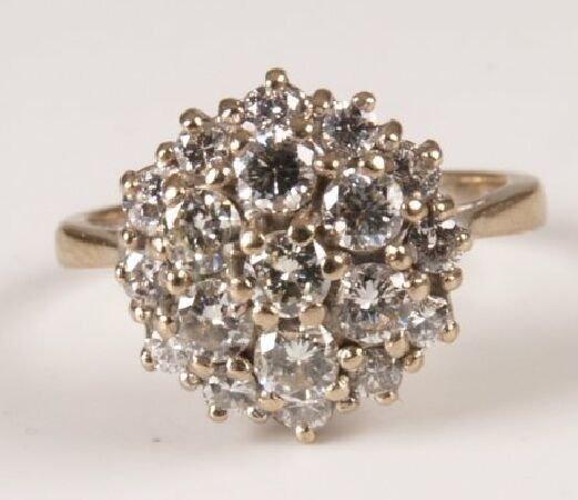 14: 18ct white nineteen stone diamond round cluster rin