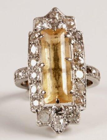 21: Mid 20th century citrine and diamond rectangular cl