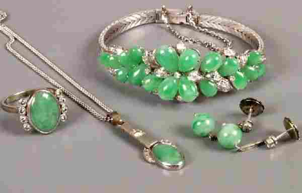 Jade and diamond set suite comprising an 18ct whit