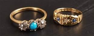 Victorian 18ct gold sapphire and diamond three stone