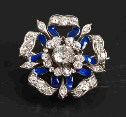 Old cut diamond and blue enamel brooch in the style