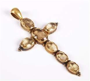 Edwardian 18ct gold citrine set cross pendant (Dime