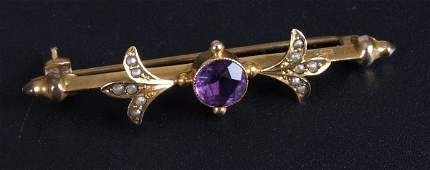 614 Edwardian 9ct gold amethyst and split pearl bar br