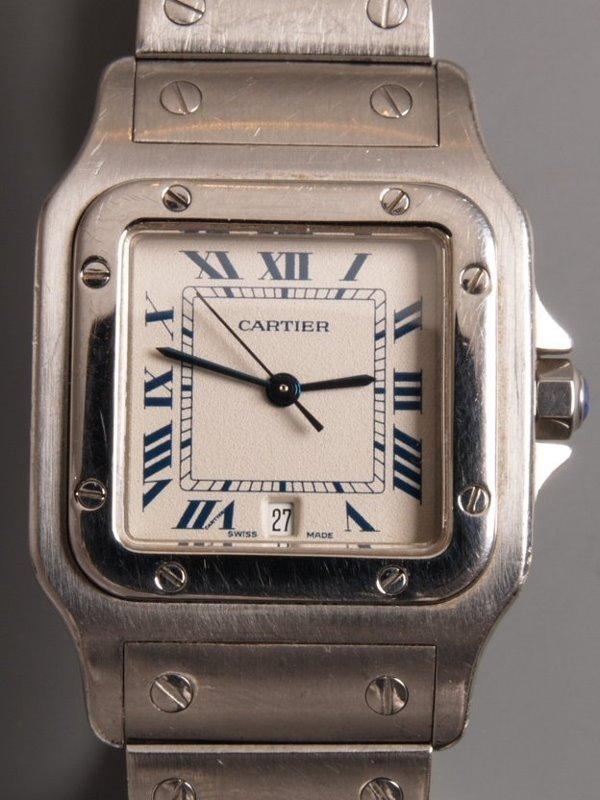 1013: CARTIER - gentleman's steel Santos with white dia