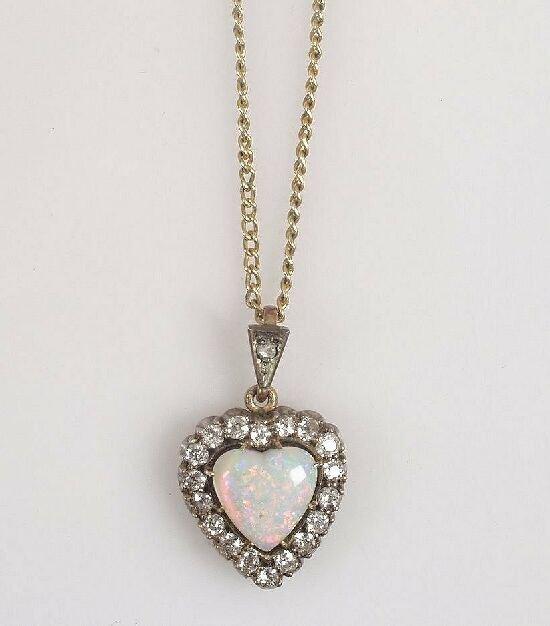1001: Edwardian heart shape opal and diamond