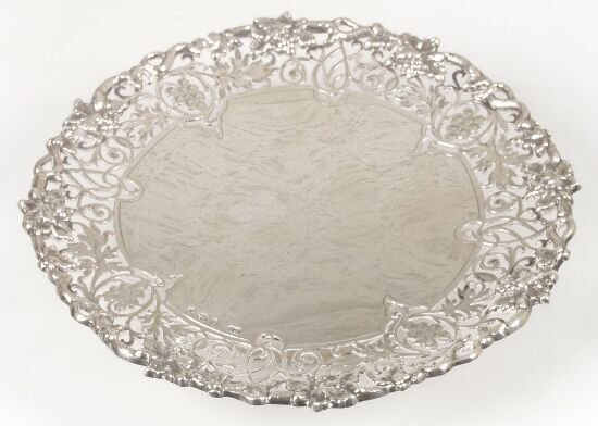 2019: A small silver dish on footed base with