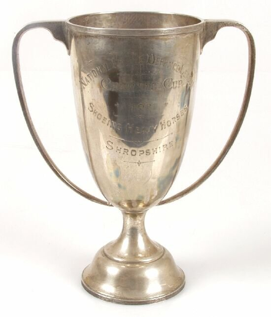 2113: A silver trophy cup with twin handles,