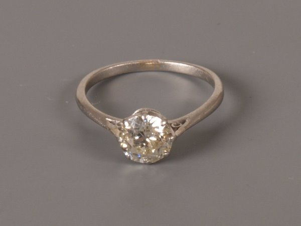 1: Old European cut single stone diamond claw set ring