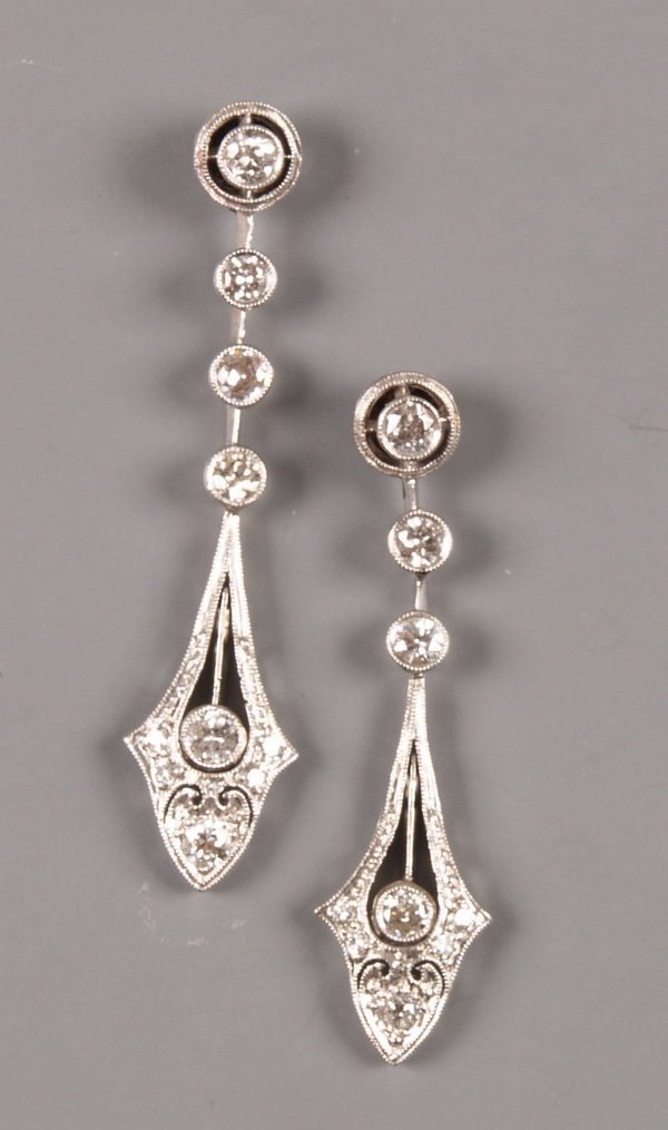 2: Pair of Edwardian diamond set drop earrings with pea