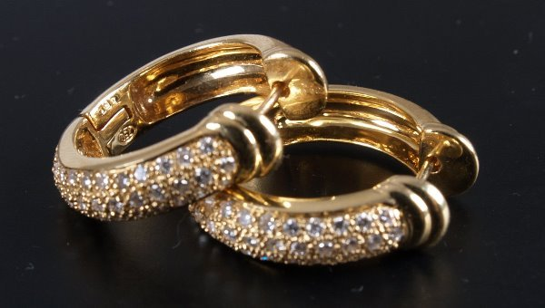 5: Pair of 18ct yellow gold creole hoop earrings pave s
