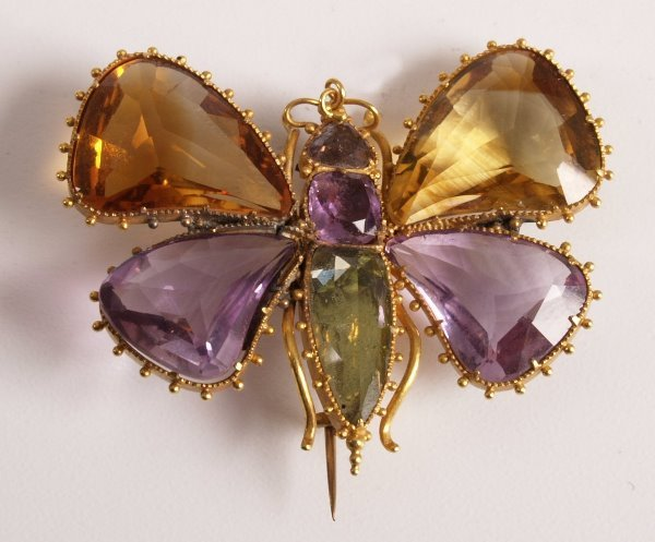 17: Victorian gold butterfly brooch with citrine and am