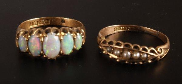 21: Edwardian 18ct gold five stone opal half hoop ring,