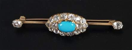 717: Diamond and turquoise set bar brooch, with a centr