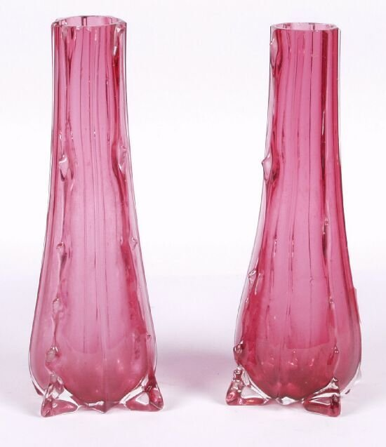 2: A pair of cranberry glass tapered bud vase