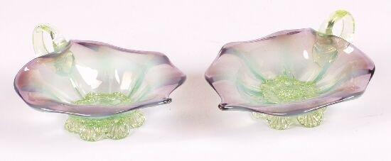 13: A pair of purple vaseline glass leaf-shap