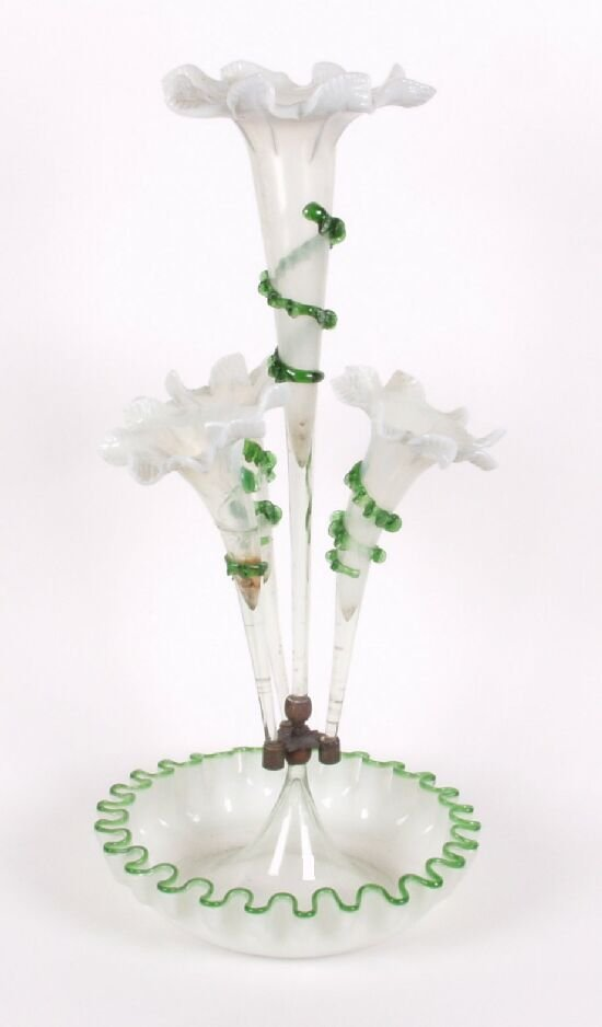15: A Victorian vaseline glass epergne, the c