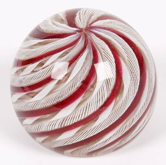 17: An Italian glass paperweight, decorated w