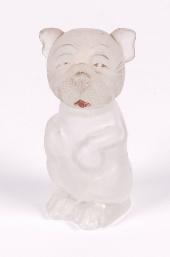 21: A frosted glass Bonzo dog scent bottle, m